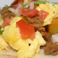 Breakfast Taco with Potatoes, Chorizo and Egg  Photo by Angela Gunder