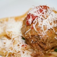 Spicy Bucatini with Wild Boar Meatballs