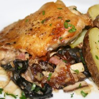 Roast Chicken with Chardonnay Sauce, Trumpet Mushroom Duxelle and Fingerling Potatoes