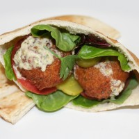 Falafel Pita with Spicy Tahini Dressing