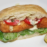 Crispy Halibut Po&#039;Boy with Caper Aioli