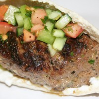 Kefta Kebab with Cucumber Salad and Shallot Yogurt