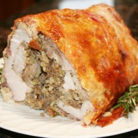 Turkey Breast Roulade with Wild Rice Pear Stuffing