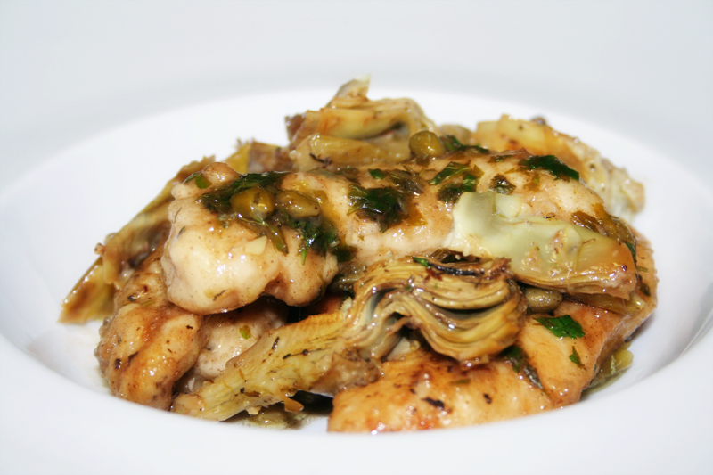 Chicken Piccata with Braised Artichokes - Spice or Die