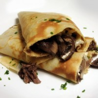 Beef Bourguignon Crepes with Cremini Mushrooms and Brie