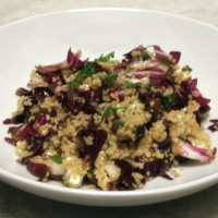 Couscous Salad with Grilled Radicchio, Red Grapes and Goat Cheese
