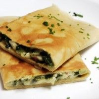 Shrimp Crepes with Spinach, Artichokes and Swiss